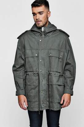 boohoo 4 Pocket Hooded Field Jacket