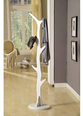 Pilaster Designs Chetwin White Wood 6 Hook Entryway Tree Coat & Hat Rack Organizer Contemporary Display Stand