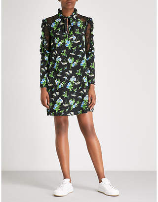 Sandro Lace-panelled floral-print silk-crepe mini dress