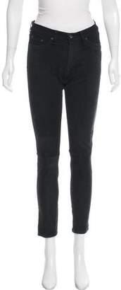 Rag & Bone Leather Paneled Mid-Rise Jeans