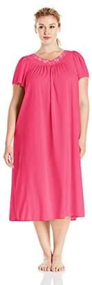 Miss Elaine Women's Plus-Size Tricot Long Flutter Sleeve Gown