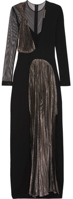 Stretch-jersey, Tulle And Pleated Lamé Gown - Black