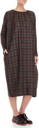 Hache Gathered Neck Plaid Long Sleeve Dress