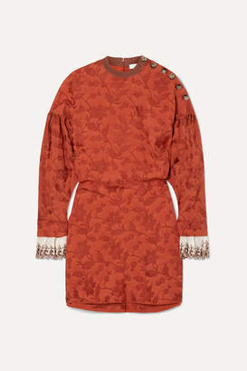 Chloé Embroidered Silk Blend-trimmed Jacquard Mini Dress - FR38