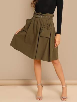 Shein Waist Belted Pleated Pocket Skirt