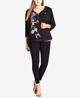 City Chic Trendy Plus Size Tie-Back Blazer