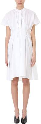Jil Sander White Collarless Cotton Dress