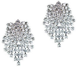 Kenneth Jay Lane Silvertone Cluster Earrings