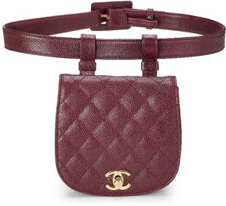 Chanel Burgundy Quilted Caviar Round Belt Bag 75