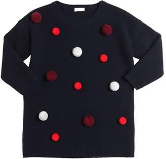 Il Gufo Knitted Wool Dress W/ Pompoms
