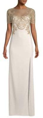 Marchesa Embroidered Short-Sleeve Gown