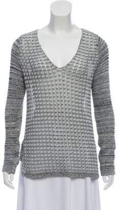 Helmut Lang Open-Knit V-Neck Sweater Blue Open-Knit V-Neck Sweater