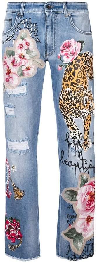 tiger patch denim jeans
