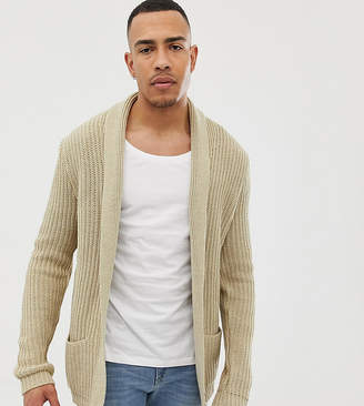 Asos DESIGN TALL Knitted Cardigan In Oatmeal