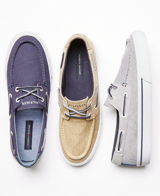 Tommy Hilfiger Men's Pharis Canvas Boat Shoes $60 thestylecure.com
