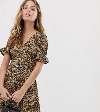 Asos DESIGN Petite button through rib tea dress with puff sleeve in animal print
