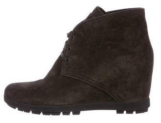 Prada Suede Wedge Boots