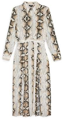 Topshop Snake Print Pleated Shirtdress
