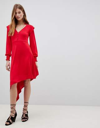 Asos DESIGN Shirred Cuff Button Tea Dress with Asymmetric Hem