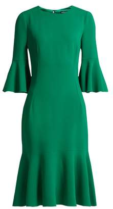 Dolce & Gabbana Fluted Hem Cady Midi Dress - Womens - Dark Green