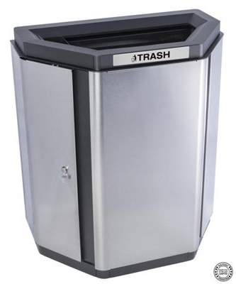 Ex-Cell Kaiser LLC Ex-Cell Kaiser ECH-HHX TR SS-BL Echelon Half-Hex Collection Indoor Trash Single Stream Receptacle with Black Anodized Trim - 32 gal