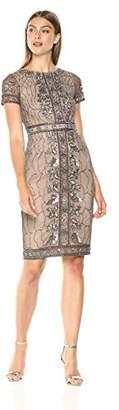 Adrianna Papell Women's Short Sleeve Beaded Midi Length Sheath Dress