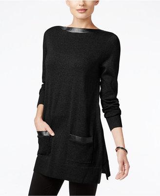 Jeanne Pierre Faux-Leather-Trim Tunic Sweater $70 thestylecure.com