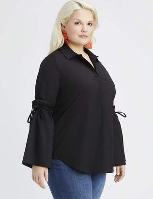 Lea & Viola Black Bell Sleeve Blouse Top Size 3X - 26/28