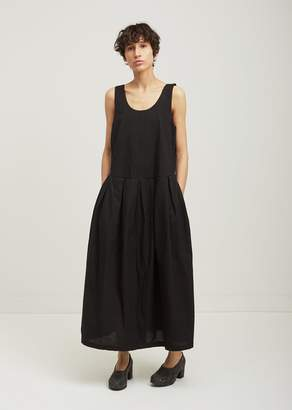 Black Crane Patched Cotton Tank Dress