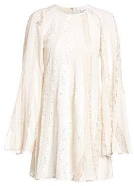Chloé Women's Mixed Lace Sleeve A-Line Dress - Dusty White - Size 40 (8)