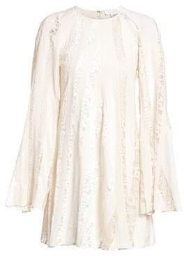 Chloé Mixed Lace Sleeve A-Line Dress