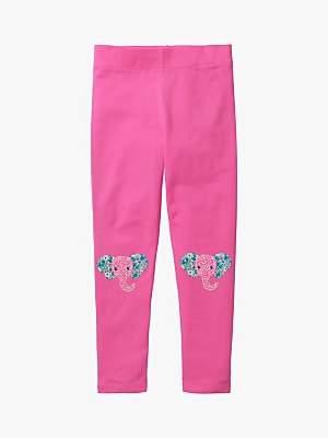 Boden Mini Girls' Elephant Applique Leggings, Tickled Pink