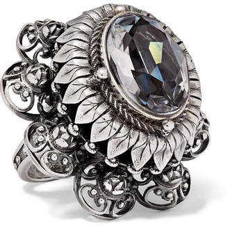 Alexander McQueen Silver-tone And Crystal Ring - 11
