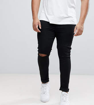 Asos DESIGN Plus extreme super skinny jeans with knee rips in black