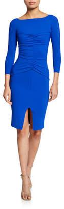 Chiara Boni Siviliana Bateau-Neck 3/4-Sleeve Ruched Dress