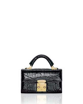 Stalvey Mini Crocodile Top Handle Bag, Black