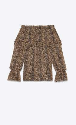 Saint Laurent Gypsy Blouse With Smocked Shoulders In Brown And Black Leopard Silk Georgette
