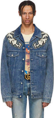 Gucci Blue Denim Marble Washed Jacket