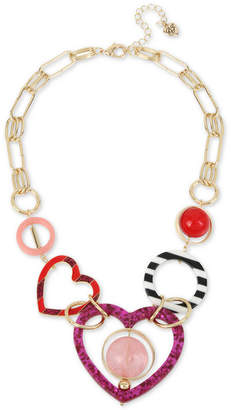 "Betsey Johnson Gold-Tone Multi-Heart & Bead Statement Necklace, 22"" + 3"" extender"