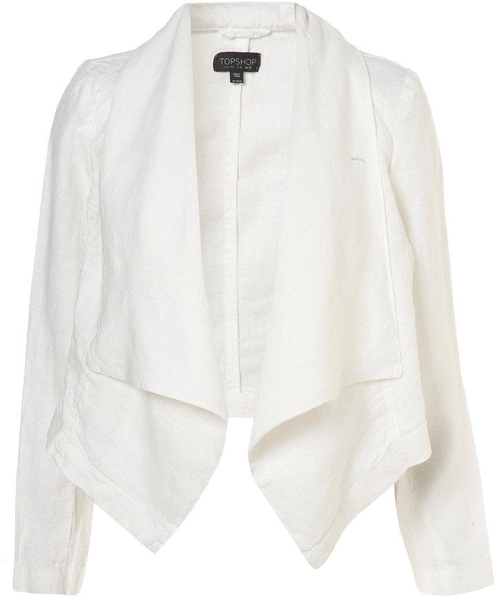 Topshop White Linen Waterfall Jacket