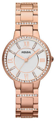 Fossil Virginia Rose Gold Tone Stainless Steel Watch