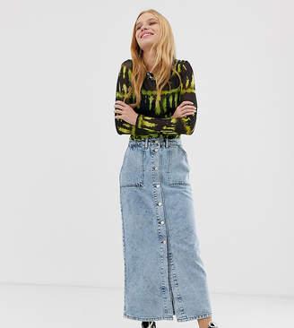 Reclaimed Vintage inspired denim midi mom skirt in light stone wash