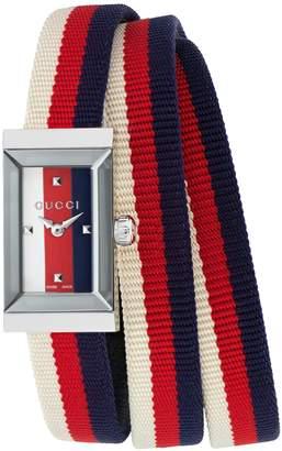 Gucci G-Frame Rectangular Nylon Strap Watch, 14mm x 25mm