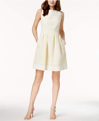 Jessica Howard Contrast Eyelet Fit & Flare Dress