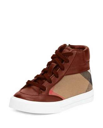Burberry Haypark Check High-Top Sneaker, Red/Tan, Youth $225 thestylecure.com