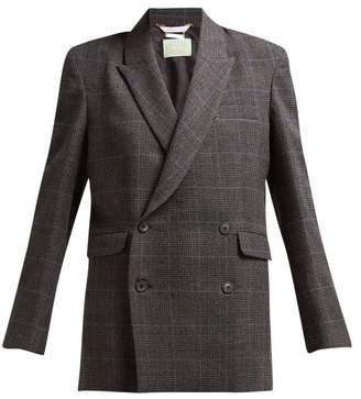 Aries Prince Of Wales Checked Tweed Jacket - Womens - Black