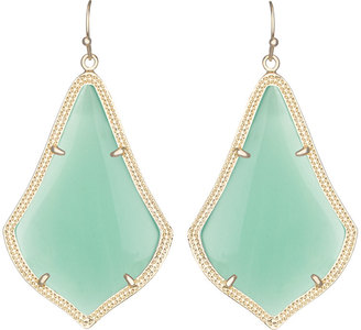 Kendra Scott Alexandra Large Glass Drop Earrings, Chalcedony/Golden $50 thestylecure.com