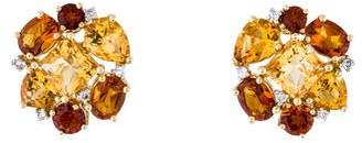 14K Citrine & Diamond Clip-On Earrings