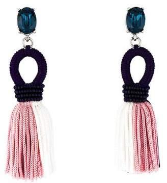 Oscar de la Renta Short Crystal & Silk Tassel Earrings