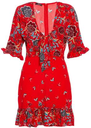 Quiz Red Crepe Floral Print 3/4 Sleeve Dress